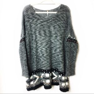 Free People Oversized Gray Knit Sweater